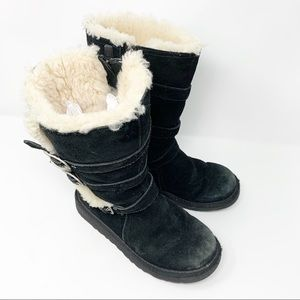 UGG AUSTRALIA Maddie Suede Shearling 3 BUCKLE BOOT